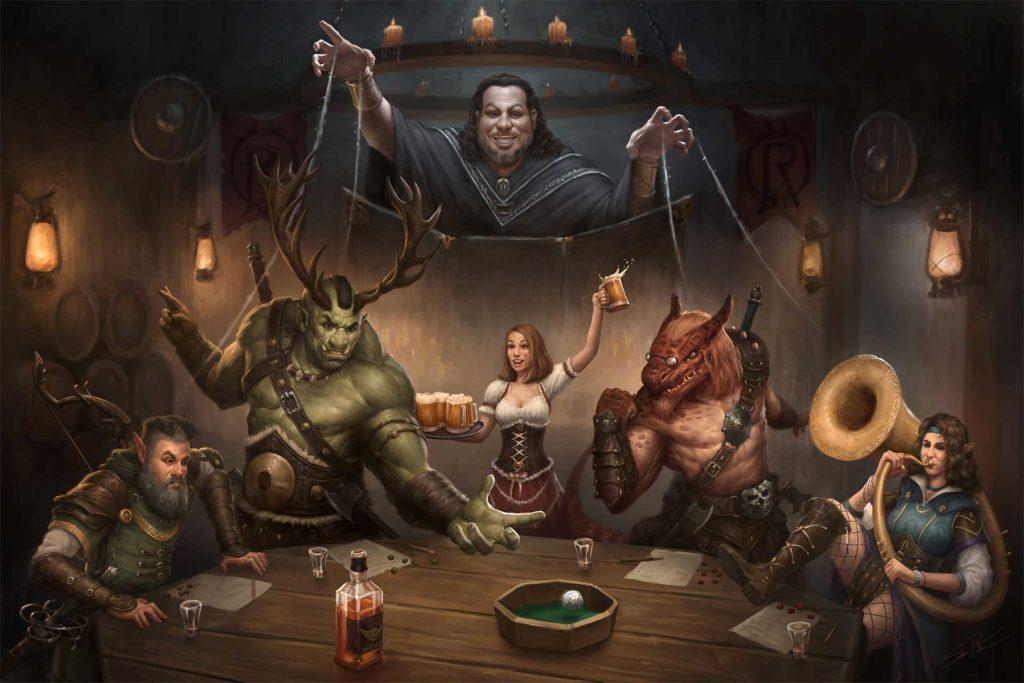 Un maître du jeu avec ses joueurs et ses PNJ