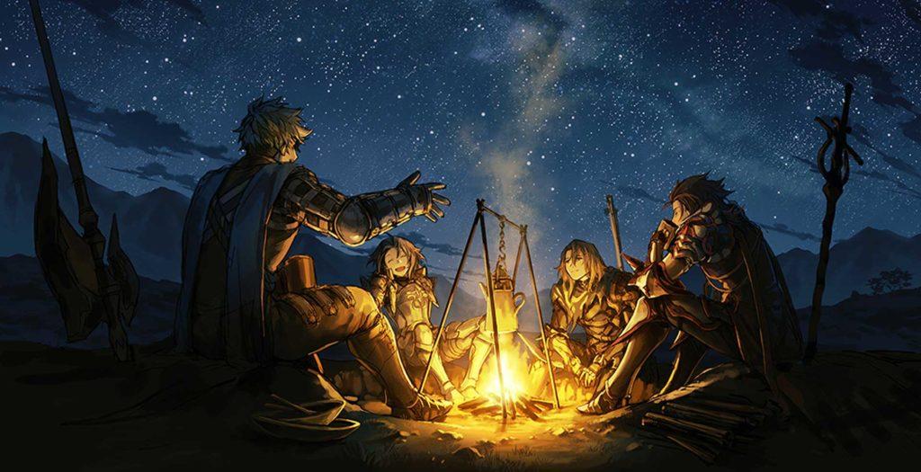 Joueurs de jeu de rôle au coin du feu