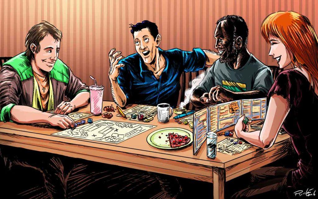 Une table typique de jeu de rôle avec ses joueurs