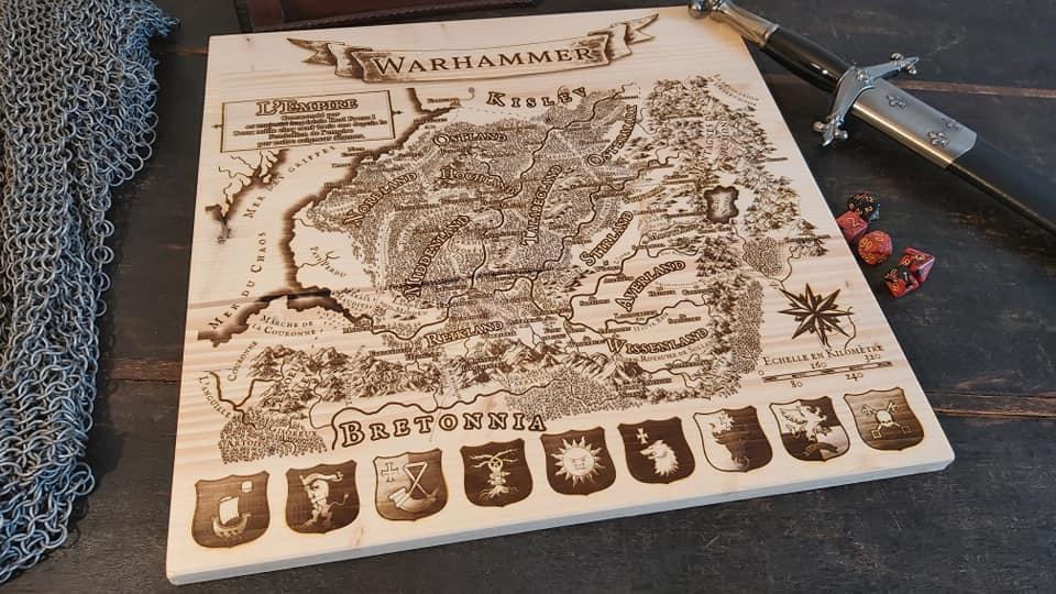Map gravé sur bois jeu de rôle Fantasy map creation